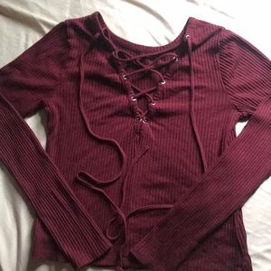 Burgundy lace up top